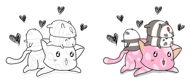 Page de coloriage de dessin animé mignon chat et petit panda pour les enfants