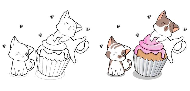 Page De Coloriage De Dessin Animé Mignon Chats Et Cup Cake Vecteur Premium