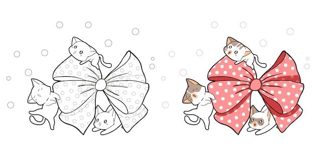 Page de coloriage de dessin animé mignon chats et gros noeud rose