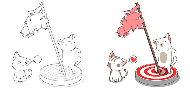 Page de coloriage de dessin animé mignon chats et objectif