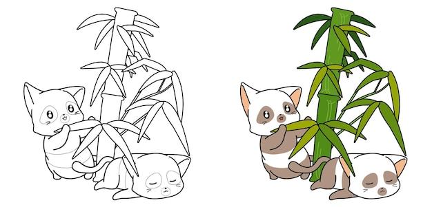 Page de coloriage de dessin animé mignon chats panda et bambou