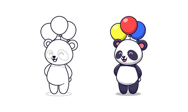 Page de coloriage de dessin animé mignon panda tenant des ballons pour les enfants