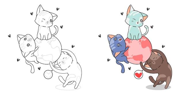 Page de coloriage de dessin animé mignon trois chats et le monde pour les enfants