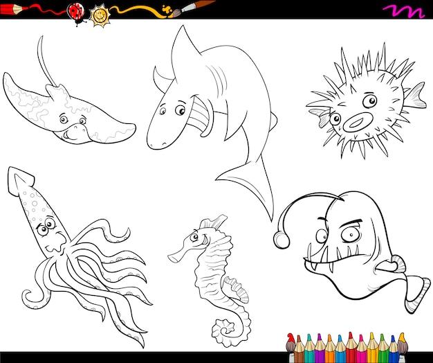 Page de coloriage de dessin animé de la vie de mer