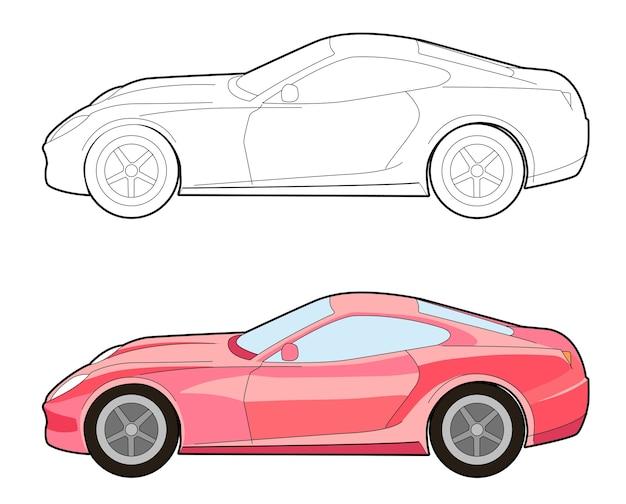 Page de coloriage de dessin animé de voiture latérale pour les enfants