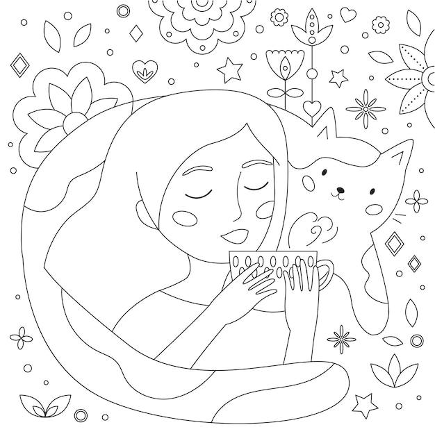Page de coloriage doodle avec femme tasse de thé et chat drôle