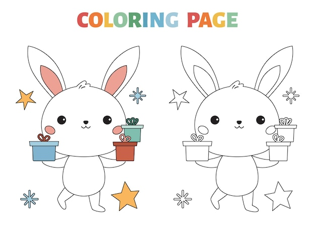 Page de coloriage avec un lapin mignon et des cadeaux
