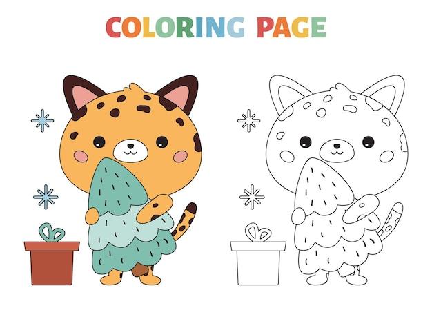 Page de coloriage avec le léopard de bande dessinée et l'arbre de noël