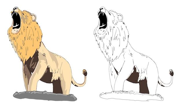 Page de coloriage de lion dessiné à la main pour enfant
