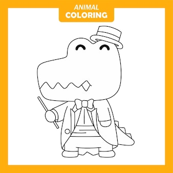 Page de coloriage de métier de chef d'orchestre animal mignon crocodile