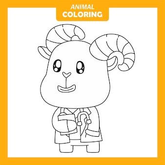 Page de coloriage mignon animal bouquetin médecin emploi emploi