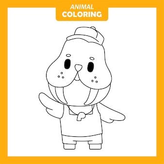 Page de coloriage mignon animal morse sauveteur métier à colorier