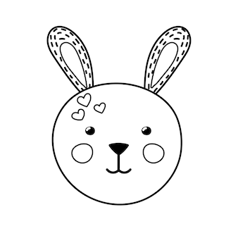 Page de coloriage mignon de visage de lapin pour les enfants impression de lapin noir et blanc drôle dans le style de dessin animé