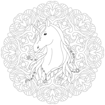 Page de coloriage noir et blanc de licorne avec le fond de mandala