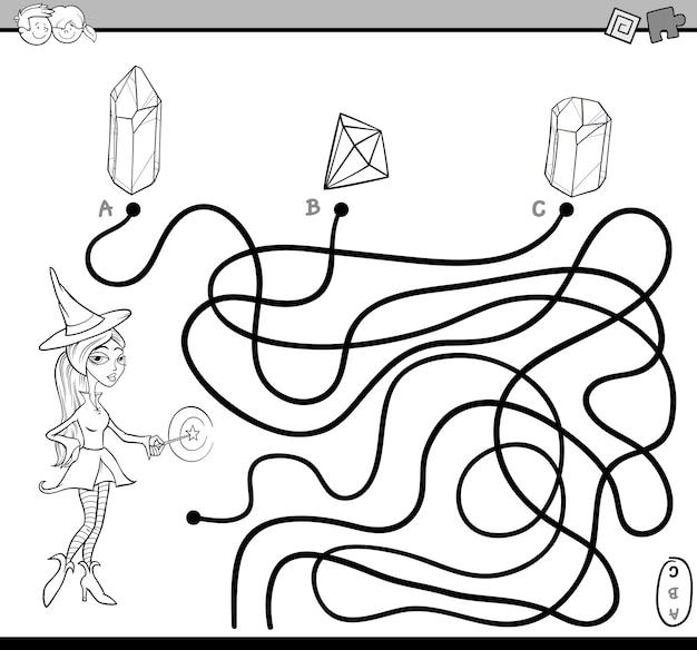 Page de coloriage de tâche labyrinthe de chemin