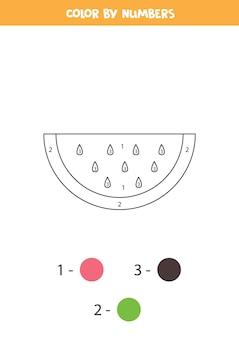 Page de coloriage avec une tranche de pastèque de dessin animé mignon. coloriez par des nombres. jeu de maths pour les enfants.