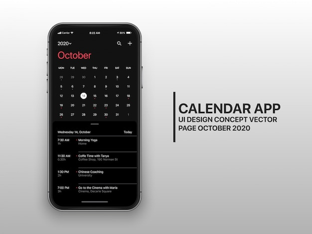 Page concept ux de l'interface utilisateur du calendrier en mode sombre octobre