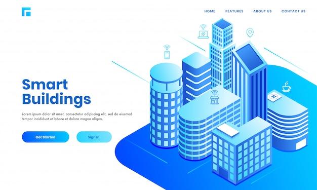 Page de conception basée sur le concept de bâtiment intelligent avec une zone de bâtiments immobiliers isométriques montrant des espaces résidentiels, hospitaliers et commerciaux.
