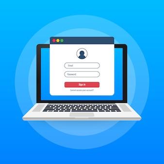 Page de connexion sur l'écran du portable. bloc-notes et formulaire de connexion en ligne, page de connexion. profil utilisateur, accès aux concepts de compte