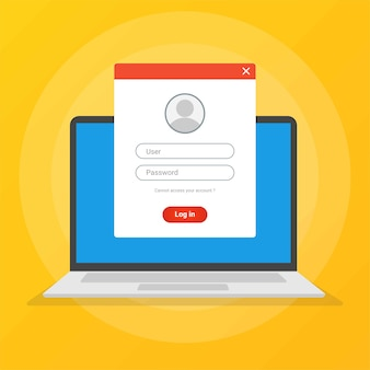 Page de connexion sur l'écran de l'ordinateur portable, accès aux concepts de compte.