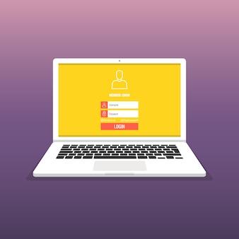 Page de connexion sur écran d'ordinateur portable