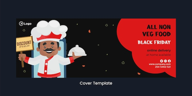Page de couverture du modèle de style de dessin animé de livraison en ligne vendredi noir