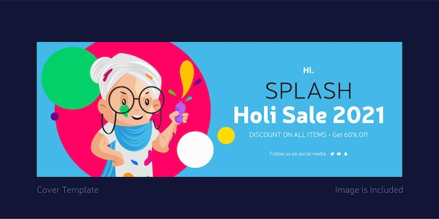 Page de couverture facebook pour la vente splash holi