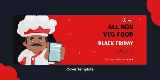 Page de couverture de l'offre de nourriture non végétarienne sur le modèle de style dessin animé vendredi noir