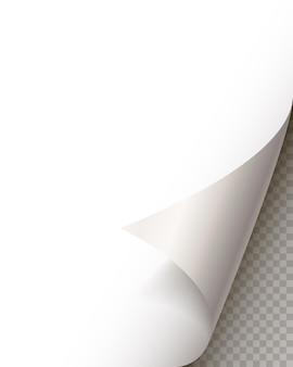 Page curl avec ombre sur une feuille de papier vierge. autocollant en papier blanc. élément de message publicitaire et promotionnel isolé sur fond transparent. élément de conception de modèle, illustration vectorielle
