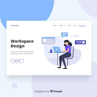 Page de destination de la conception de l'espace de travail