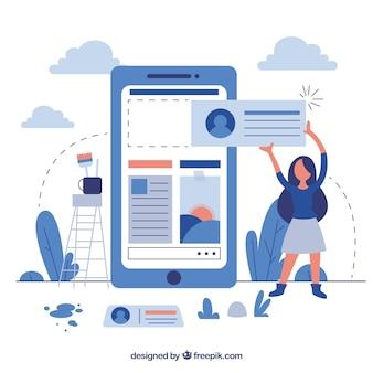 Page de destination professionnelle en design plat