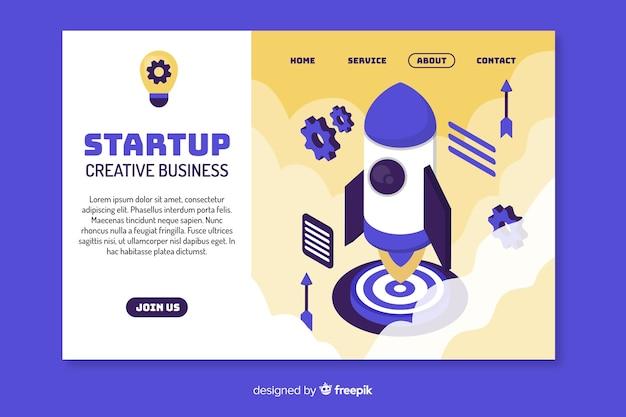 Page de démarrage d'une entreprise créative