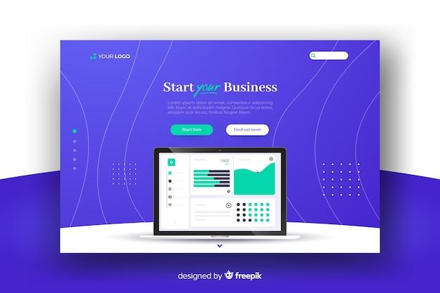 Page de démarrage d'une entreprise