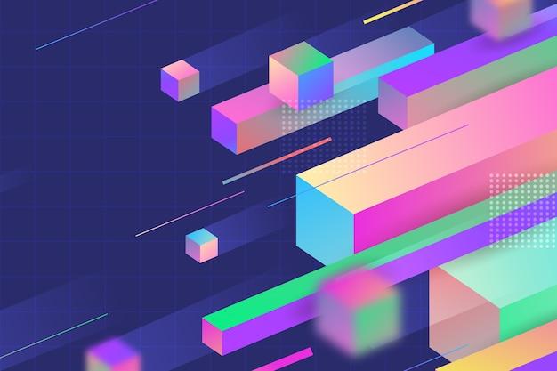 Page de destination 3d de formes géométriques de vitesse