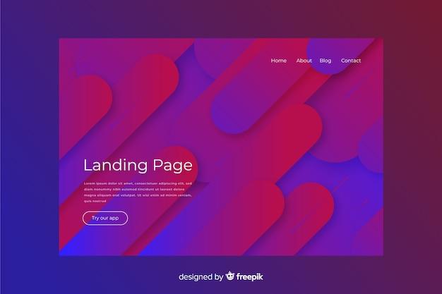 Page de destination abstraite avec un design minimal