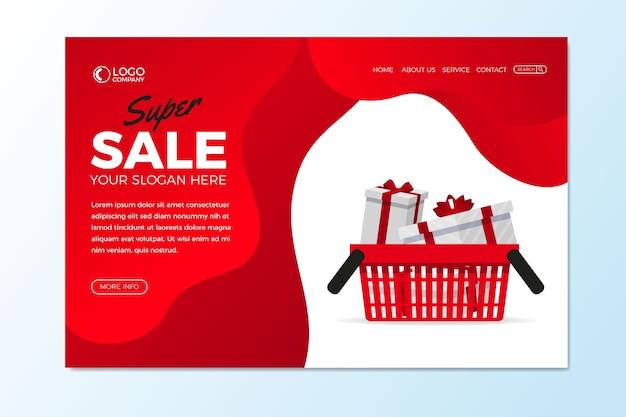 Page de destination abstraite des ventes avec des cadeaux