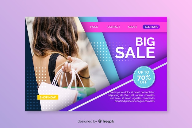 Page de destination abstraite des ventes avec image