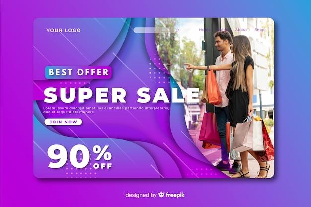 Page de destination abstraite des ventes avec modèle d'image
