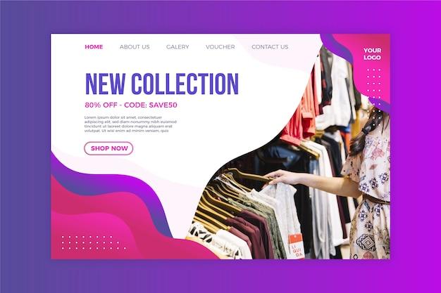 Page de destination abstraite des ventes avec photo