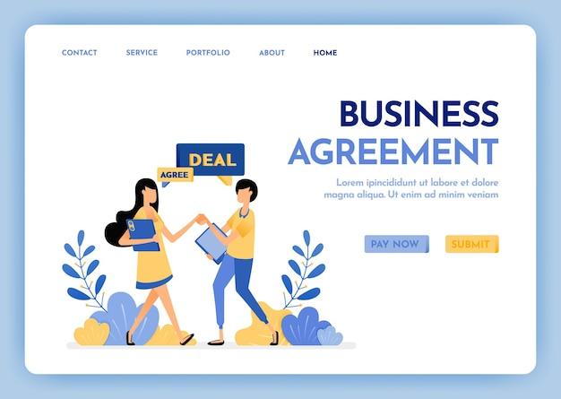 Page de destination de l'accord commercial