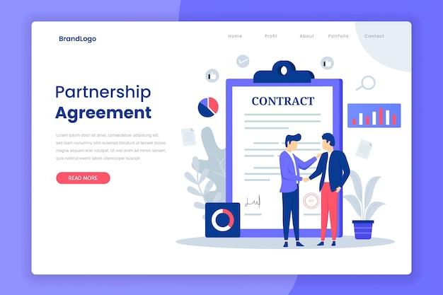 Page de destination de l'accord de partenariat