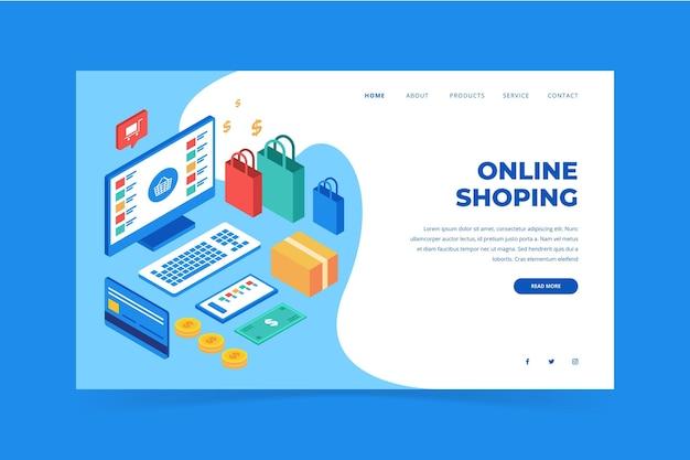 Page de destination d'achat en ligne illustrée