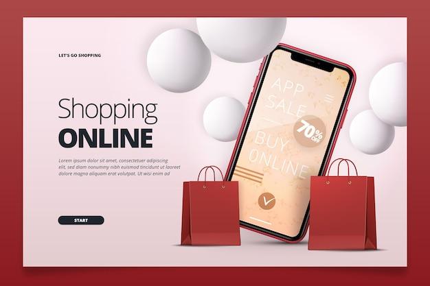 Page de destination d'achat en ligne réaliste