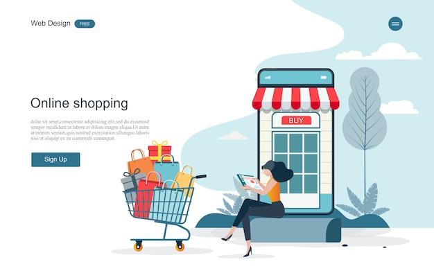 Page de destination des achats et des services en ligne