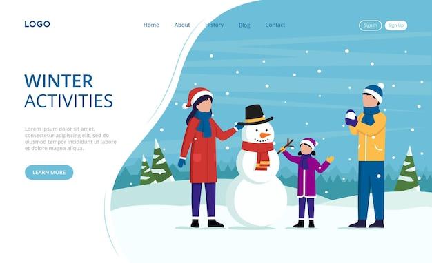 Page de destination des activités hivernales