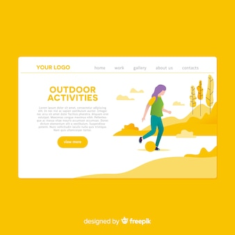 Page de destination des activités de plein air dessinées à la main