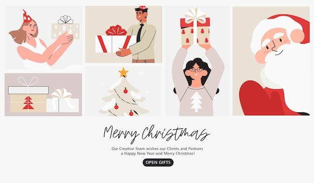Page de destination de l'affiche de la bannière de noël ou du nouvel an avec des personnes célébrant les vacances d'hiver