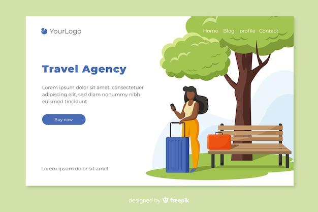 Page de destination d'une agence de voyages