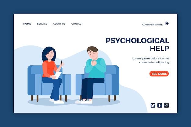 Page de destination de l'aide psychologique avec le patient