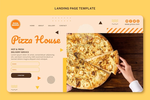 Page de destination des aliments plats